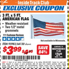 Harbor Freight ITC Coupon 3 FT. x 5 FT. AMERICAN FLAG Lot No. 95983 Expired: 4/14/19 - $3.99