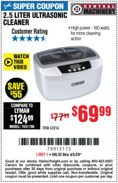 Harbor Freight Coupon 2.5 LITER ULTRASONIC CLEANER Lot No. 63256 EXPIRES: 6/30/20 - $69.99