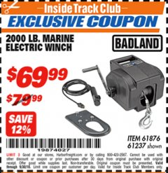 Harbor Freight ITC Coupon 2000 LB. MARINE ELECTRIC WINCH Lot No. 61237/61876/96455 Expired: 9/30/18 - $69.99