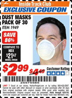 Harbor Freight ITC Coupon DUST MASKS PACK OF 30 Lot No. 1949 Expired: 8/31/18 - $2.99