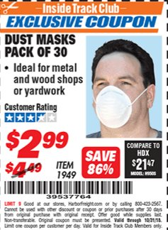Harbor Freight ITC Coupon DUST MASKS PACK OF 30 Lot No. 1949 Expired: 10/31/18 - $2.99