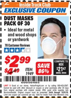 Harbor Freight ITC Coupon DUST MASKS PACK OF 30 Lot No. 1949 Expired: 12/31/18 - $2.99
