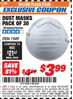 Harbor Freight ITC Coupon DUST MASKS PACK OF 30 Lot No. 1949 Expired: 8/31/19 - $3.99