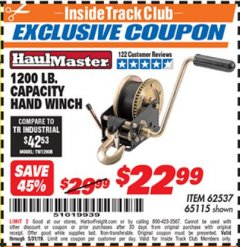 Harbor Freight ITC Coupon 1200 LB. CAPACITY HAND WINCH Lot No. 62537/65115 Dates Valid: 12/31/69 - 5/31/19 - $22.99