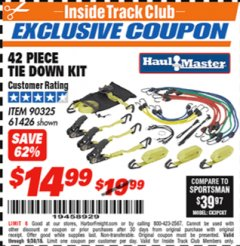 Harbor Freight ITC Coupon 42 PIECE TIE DOWN KIT Lot No. 61426/90325 Expired: 9/30/18 - $14.99