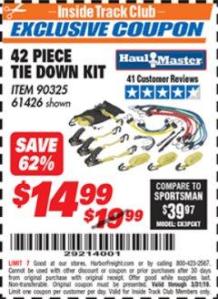 Harbor Freight ITC Coupon 42 PIECE TIE DOWN KIT Lot No. 61426/90325 Expired: 3/31/19 - $14.99