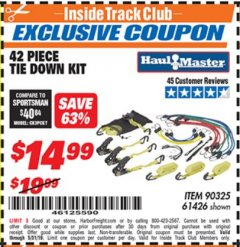 Harbor Freight ITC Coupon 42 PIECE TIE DOWN KIT Lot No. 61426/90325 Dates Valid: 5/3/19 - 5/31/19 - $14.99