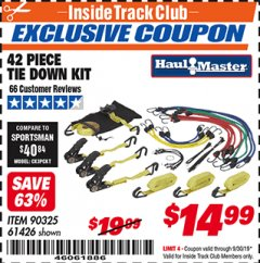 Harbor Freight ITC Coupon 42 PIECE TIE DOWN KIT Lot No. 61426/90325 Valid Thru: 9/30/19 - $14.99