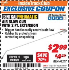 Harbor Freight ITC Coupon AIR BLOW GUN WITH 2 FT. EXTENSION Lot No. 68257 Expired: 2/29/20 - $2.99
