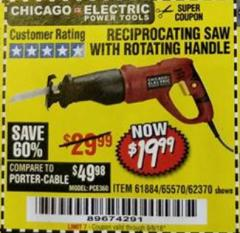 Harbor Freight Coupon RECIPROCATING SAW WITH ROTATING HANDLE Lot No. 65570/61884/62370 Expired: 9/5/18 - $19.99