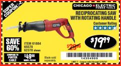 Harbor Freight Coupon RECIPROCATING SAW WITH ROTATING HANDLE Lot No. 65570/61884/62370 Expired: 5/19/18 - $19.99