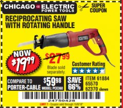 Harbor Freight Coupon RECIPROCATING SAW WITH ROTATING HANDLE Lot No. 65570/61884/62370 Expired: 10/8/18 - $19.99