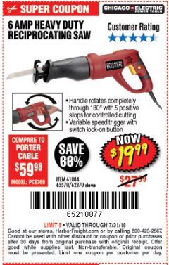 Harbor Freight Coupon RECIPROCATING SAW WITH ROTATING HANDLE Lot No. 65570/61884/62370 Expired: 7/31/18 - $19.99