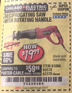 Harbor Freight Coupon RECIPROCATING SAW WITH ROTATING HANDLE Lot No. 65570/61884/62370 Expired: 2/5/19 - $19.99