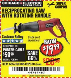 Harbor Freight Coupon RECIPROCATING SAW WITH ROTATING HANDLE Lot No. 65570/61884/62370 Valid Thru: 6/15/19 - $19.99