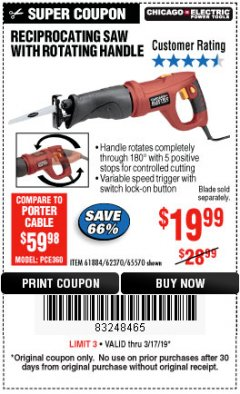 Harbor Freight Coupon RECIPROCATING SAW WITH ROTATING HANDLE Lot No. 65570/61884/62370 Expired: 3/17/19 - $19.99