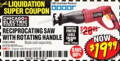 Harbor Freight Coupon RECIPROCATING SAW WITH ROTATING HANDLE Lot No. 65570/61884/62370 Valid Thru: 5/31/19 - $19.99