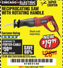 Harbor Freight Coupon RECIPROCATING SAW WITH ROTATING HANDLE Lot No. 65570/61884/62370 Valid Thru: 7/19/19 - $19.99