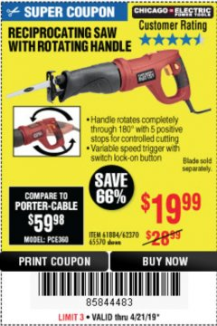 Harbor Freight Coupon RECIPROCATING SAW WITH ROTATING HANDLE Lot No. 65570/61884/62370 Valid Thru: 4/21/19 - $19.99