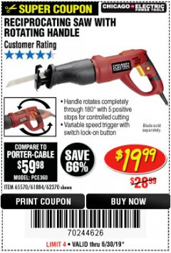 Harbor Freight Coupon RECIPROCATING SAW WITH ROTATING HANDLE Lot No. 65570/61884/62370 Valid Thru: 6/30/19 - $19.99