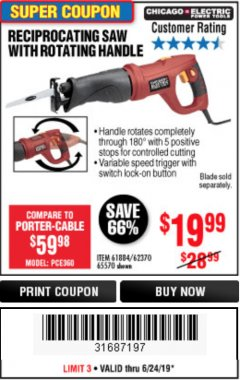 Harbor Freight Coupon RECIPROCATING SAW WITH ROTATING HANDLE Lot No. 65570/61884/62370 Valid Thru: 6/24/19 - $19.99