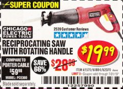 Harbor Freight Coupon RECIPROCATING SAW WITH ROTATING HANDLE Lot No. 65570/61884/62370 Expired: 7/31/19 - $19.99
