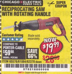 Harbor Freight Coupon RECIPROCATING SAW WITH ROTATING HANDLE Lot No. 65570/61884/62370 Expired: 9/14/19 - $19.99