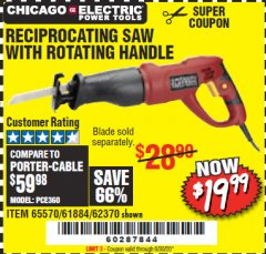 Harbor Freight Coupon RECIPROCATING SAW WITH ROTATING HANDLE Lot No. 65570/61884/62370 Valid Thru: 6/30/20 - $19.99