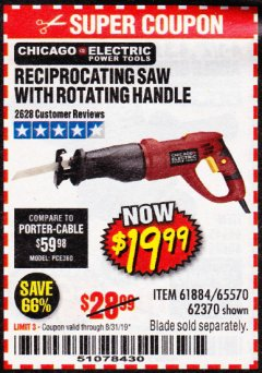 Harbor Freight Coupon RECIPROCATING SAW WITH ROTATING HANDLE Lot No. 65570/61884/62370 Expired: 8/31/19 - $19.99