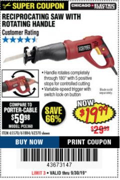 Harbor Freight Coupon RECIPROCATING SAW WITH ROTATING HANDLE Lot No. 65570/61884/62370 Expired: 9/30/19 - $19.99