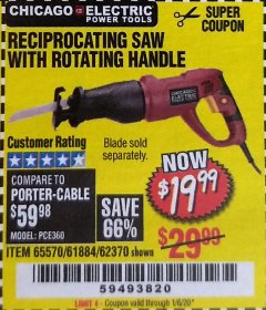 Harbor Freight Coupon RECIPROCATING SAW WITH ROTATING HANDLE Lot No. 65570/61884/62370 Valid Thru: 1/6/20 - $19.99