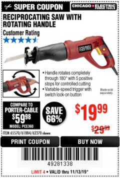 Harbor Freight Coupon RECIPROCATING SAW WITH ROTATING HANDLE Lot No. 65570/61884/62370 Valid Thru: 11/13/19 - $19.99