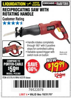 Harbor Freight Coupon RECIPROCATING SAW WITH ROTATING HANDLE Lot No. 65570/61884/62370 Valid Thru: 10/31/19 - $19.99