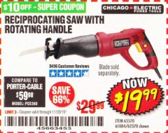 Harbor Freight Coupon RECIPROCATING SAW WITH ROTATING HANDLE Lot No. 65570/61884/62370 Valid Thru: 11/30/19 - $19.99