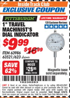 "Harbor Freight ITC Coupon 1"" TRAVEL MACHINIST'S DIAL INDICATOR Lot No. 623 Valid Thru: 2/28/19 - $9.99"
