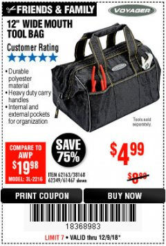 "Harbor Freight Coupon 12"" TOOL BAG Lot No. 61467/62163/62349 Expired: 12/9/18 - $4.99"