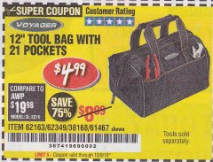 "Harbor Freight Coupon VOYAGER 12"" WIDE MOUTH TOOL BAG Lot No. 38168/62163/62349/61467 Expired: 10/9/19 - $4.99"