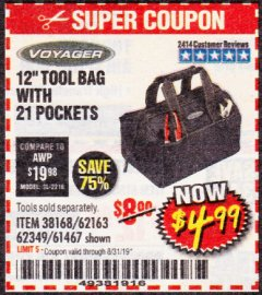 "Harbor Freight Coupon 12"" TOOL BAG Lot No. 61467/62163/62349 Expired: 8/31/19 - $4.99"