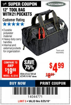 "Harbor Freight Coupon 12"" TOOL BAG Lot No. 61467/62163/62349 Expired: 8/25/19 - $4.99"