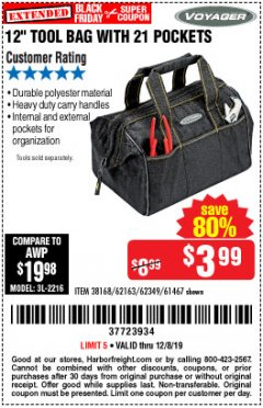 "Harbor Freight Coupon 12"" TOOL BAG Lot No. 61467/62163/62349 Valid Thru: 12/8/19 - $3.99"