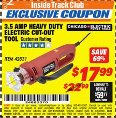 Harbor Freight ITC Coupon 3.5 AMP HEAVY DUTY ELECTRIC CUTOUT TOOL Lot No. 42831 Expired: 8/31/18 - $17.99
