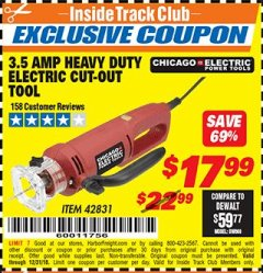 Harbor Freight ITC Coupon 3.5 AMP HEAVY DUTY ELECTRIC CUTOUT TOOL Lot No. 42831 Expired: 12/31/18 - $17.99