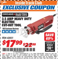 Harbor Freight ITC Coupon 3.5 AMP HEAVY DUTY ELECTRIC CUTOUT TOOL Lot No. 42831 Expired: 2/28/19 - $17.99
