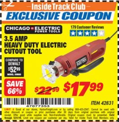 Harbor Freight ITC Coupon 3.5 AMP HEAVY DUTY ELECTRIC CUTOUT TOOL Lot No. 42831 Dates Valid: 12/31/69 - 5/31/19 - $17.99