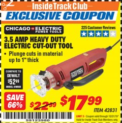 Harbor Freight ITC Coupon 3.5 AMP HEAVY DUTY ELECTRIC CUTOUT TOOL Lot No. 42831 Valid Thru: 10/31/19 - $17.99
