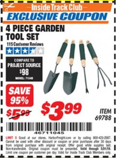Harbor Freight ITC Coupon 4 PIECE GARDEN TOOL SET Lot No. 69788 Dates Valid: 5/3/19 - 5/31/19 - $3.99