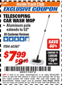 Harbor Freight ITC Coupon TELESCOPING CAR WASH MOP Lot No. 60587 Expired: 1/31/19 - $7.99