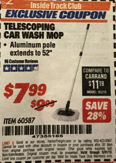 Harbor Freight ITC Coupon TELESCOPING CAR WASH MOP Lot No. 60587 Dates Valid: 4/25/19 - 5/31/19 - $7.99