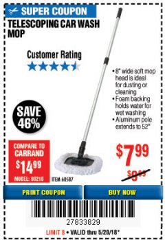 Harbor Freight Coupon TELESCOPING CAR WASH MOP Lot No. 60587 Expired: 5/20/18 - $7.99