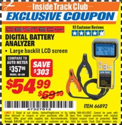 Harbor Freight ITC Coupon DIGITAL AUTOMOTIVE BATTERY ANALYZER Lot No. 66892 Dates Valid: 12/31/69 - 5/31/19 - $54.99